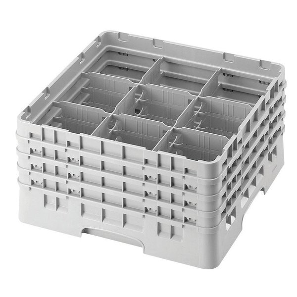 """Cambro 9S958151 Soft Gray Camrack Customizable 9 Compartment 10 1/8"""" Glass Rack Main Image 1"""