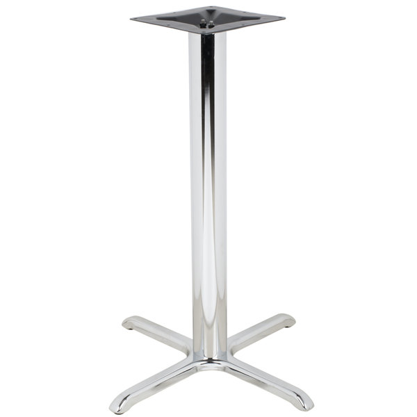 """BFM Seating STB-30304CHTBP 30"""" x 30"""" Chrome Stamped Steel Indoor Bar Height Cross Table Base, 4"""" Column"""