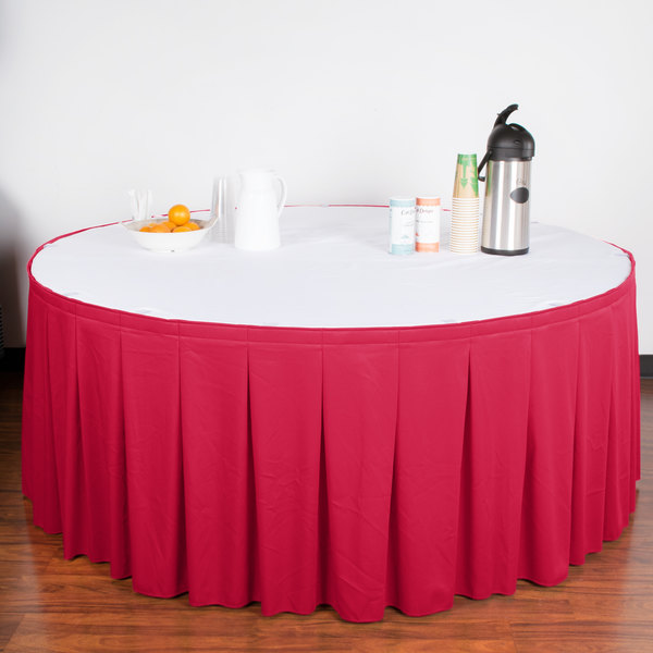 "Snap Drape WYN5V21629-RASP Wyndham 21' 6"" x 29"" Raspberry Continuous Pleat Table Skirt with Velcro® Clips"