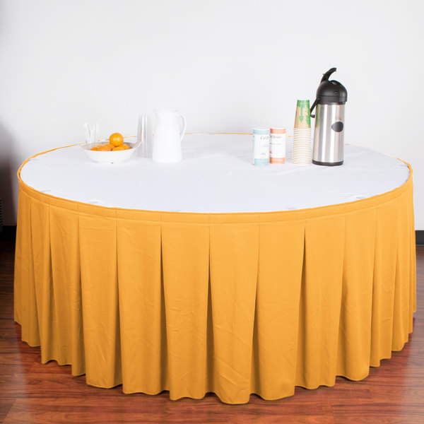 "Snap Drape WYN5V21629-TOP Wyndham 21' 6"" x 29"" Topaz Continuous Pleat Table Skirt with Velcro® Clips"