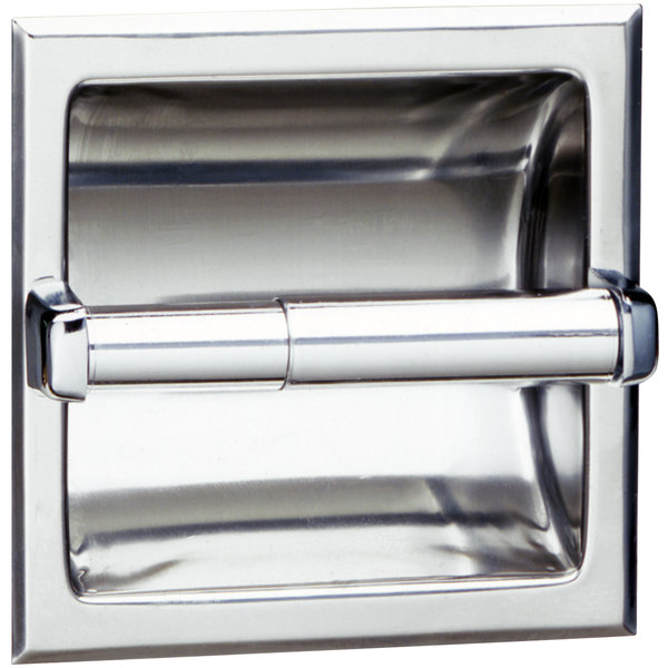 Bobrick B-667 Recessed Toilet Tissue Dispenser with Bright Polished Finish Main Image 1