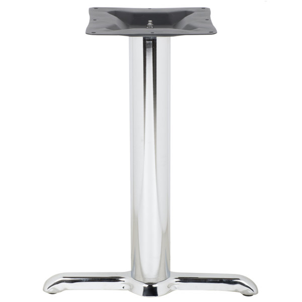"""BFM Seating STB-00224CHBP 22"""" x 5"""" Chrome Stamped Steel Indoor Standard Height End Table Base, 4"""" Columns Main Image 1"""