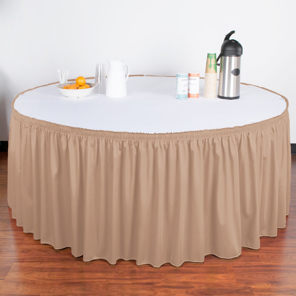 """Snap Drape WYN1V21629-SBL Wyndham 21' 6"""" x 29"""" Sable Shirred Pleat Table Skirt with Velcro® Clips"""