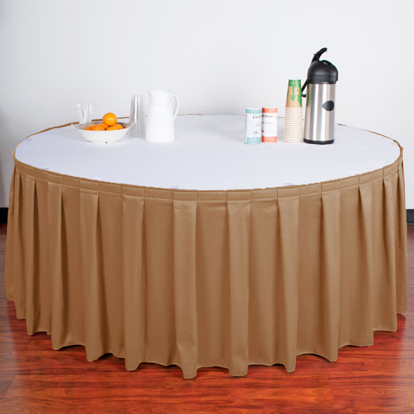 "Snap Drape WYN3V21629-BTTR Wyndham 21' 6"" x 29"" Butterscotch Box Pleat Table Skirt with Velcro® Clips"