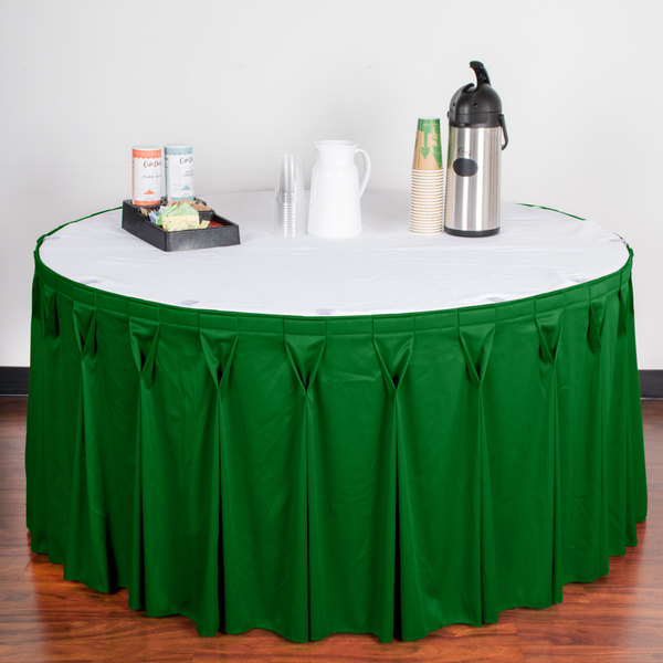 "Snap Drape WYN6V17629-KG Wyndham 17' 6"" x 29"" Kelly Green Bow Tie Pleat Table Skirt with Velcro® Clips"