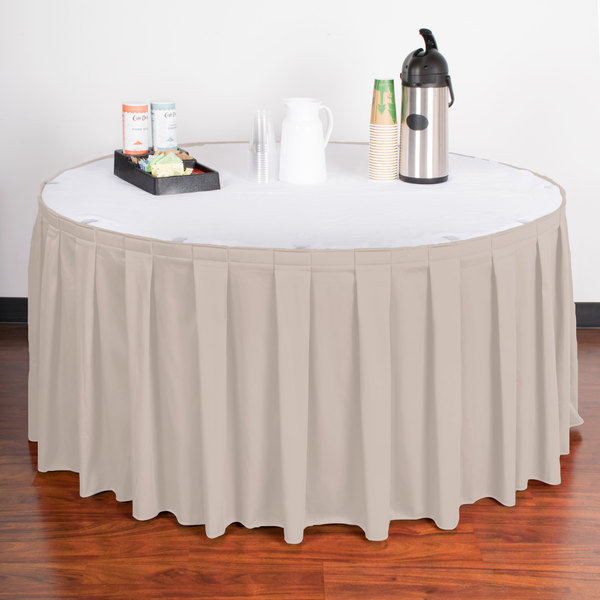 "Snap Drape WYN3V17629-SC Wyndham 17' 6"" x 29"" Silver Cloud Box Pleat Table Skirt with Velcro® Clips"