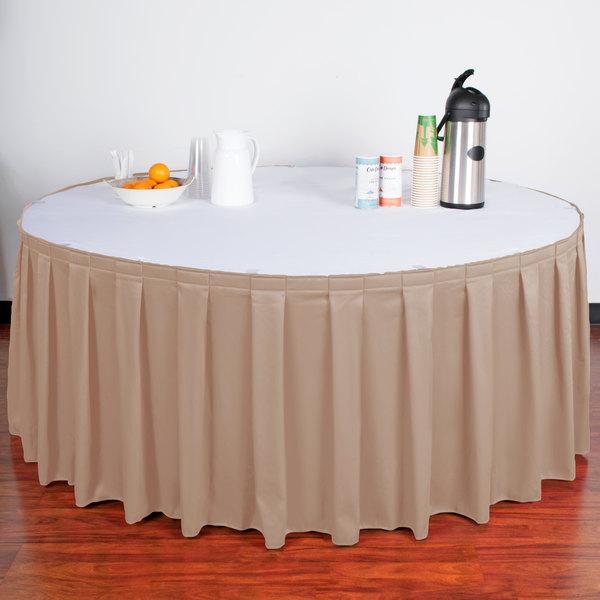 "Snap Drape WYN3V21629-SBL Wyndham 21' 6"" x 29"" Sable Box Pleat Table Skirt with Velcro® Clips"