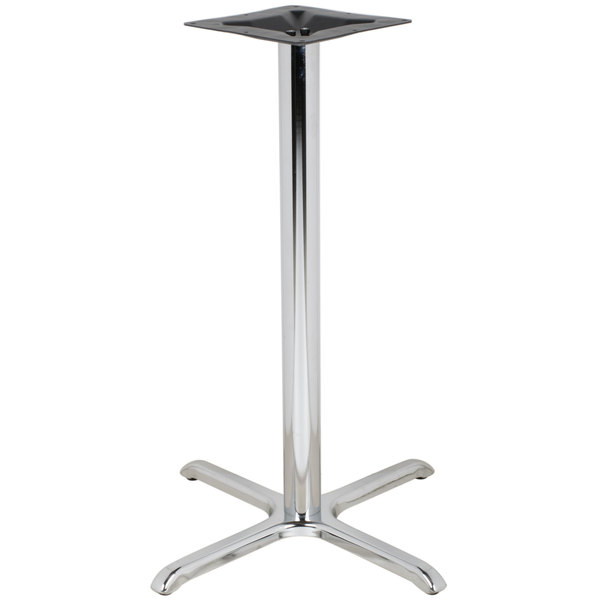 """BFM Seating STB-3030CHTBP 30"""" x 30"""" Chrome Stamped Steel Indoor Bar Height Cross Table Base, 3"""" Column"""
