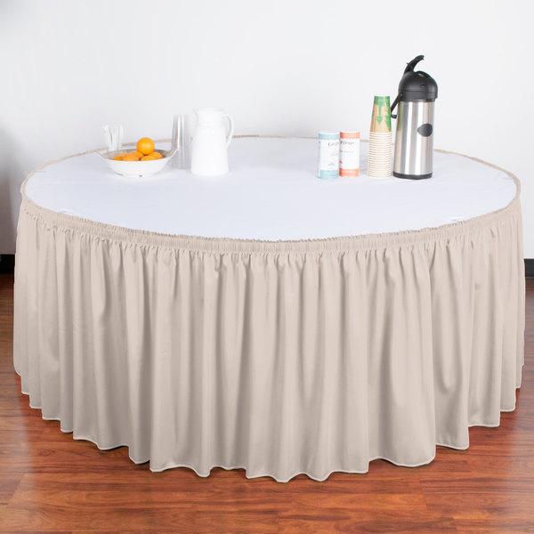 "Snap Drape WYN1V21629-SC Wyndham 21' 6"" x 29"" Silver Cloud Shirred Pleat Table Skirt with Velcro® Clips"