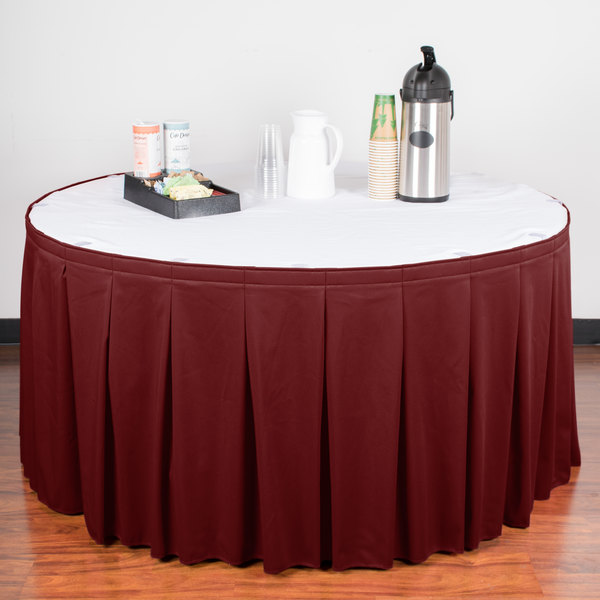 "Snap Drape WYN5V17629-WIN Wyndham 17' 6"" x 29"" Wine Continuous Pleat Table Skirt with Velcro® Clips"