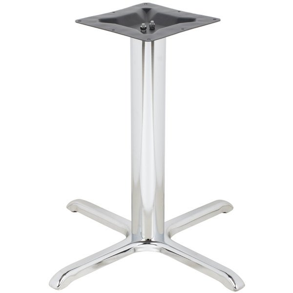 "BFM Seating STB-3030CHBP 30"" x 30"" Chrome Stamped Steel Indoor Standard Height Cross Table Base, 3"" Column"