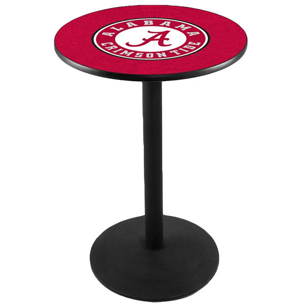 "Holland Bar Stool L214B36AL-A 28"" Round University of Alabama Pub Table with Round Base"