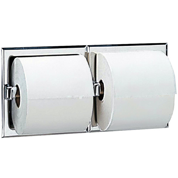 Bobrick B-697 Recessed Double Toilet Tissue Dispenser with Bright Polished Finish
