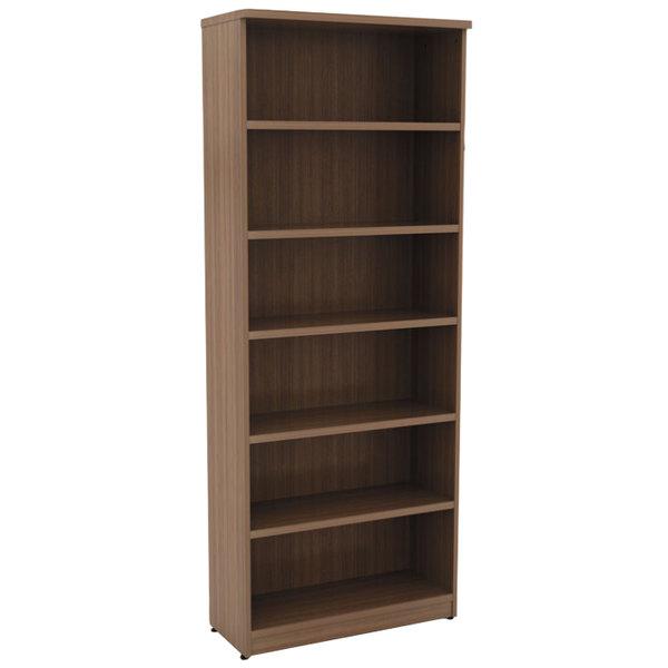 "Alera ALEVA638232WA Valencia Series 31 3/4"" x 14"" x 80 3/8"" Modern Walnut 6-Shelf Bookcase Main Image 1"
