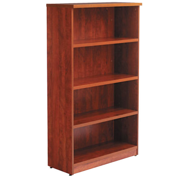 "Alera ALEVA635632MC Valencia Series 31 3/4"" x 14"" x 55"" Medium Cherry 4-Shelf Bookcase Main Image 1"