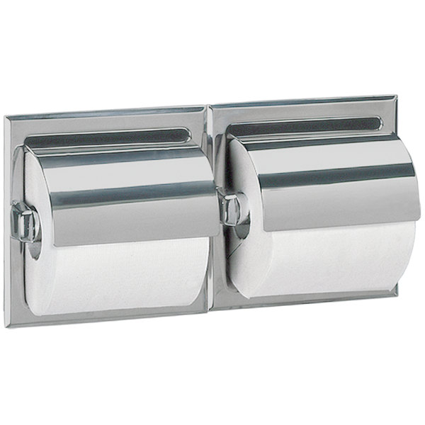 Bobrick B-6997 Recessed Double Toilet Tissue Dispenser with Stainless Steel Hood and Satin Finish