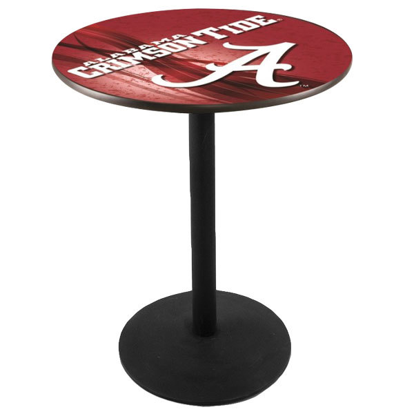 "Holland Bar Stool L214B3628AL-A-D2 28"" Round University of Alabama Pub Table with Round Base Main Image 1"