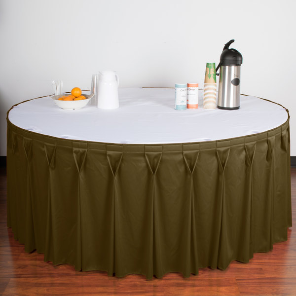 "Snap Drape WYN6V21629-OLV Wyndham 21' 6"" x 29"" Olive Bow Tie Pleat Table Skirt with Velcro® Clips"