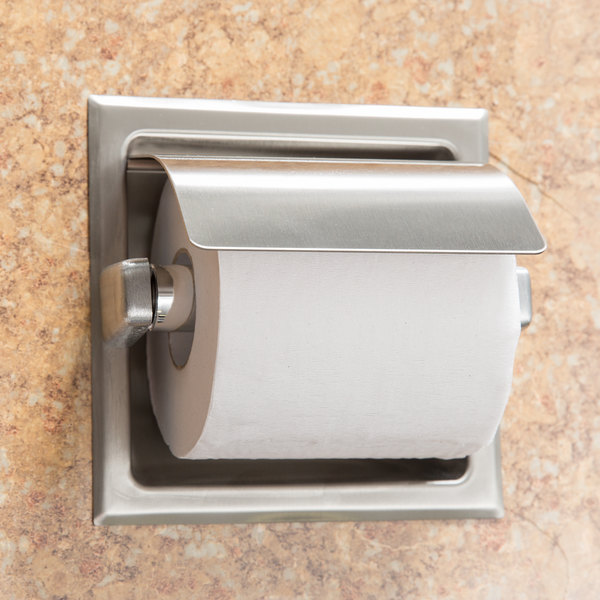 Bobrick B 6697 Recessed Toilet Tissue Dispenser With Stainless Steel Hood And Satin Finish