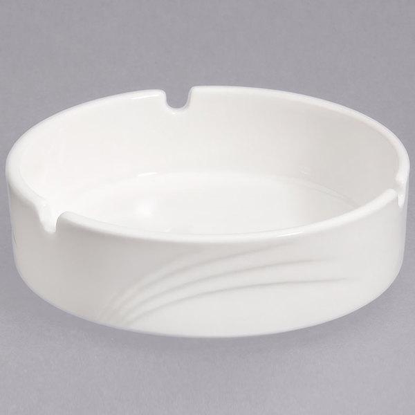 "CAC GAD-AT Garden State 4 1/2"" Bone White Porcelain Ashtray - 72/Case"