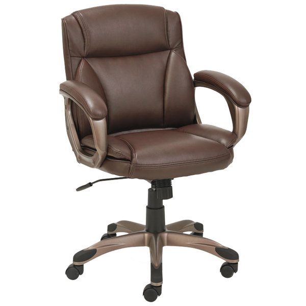 Alera ALEVN6159 Veon Series Low Back Brown Leather Executive Chair With  Coil Spring Cushioning