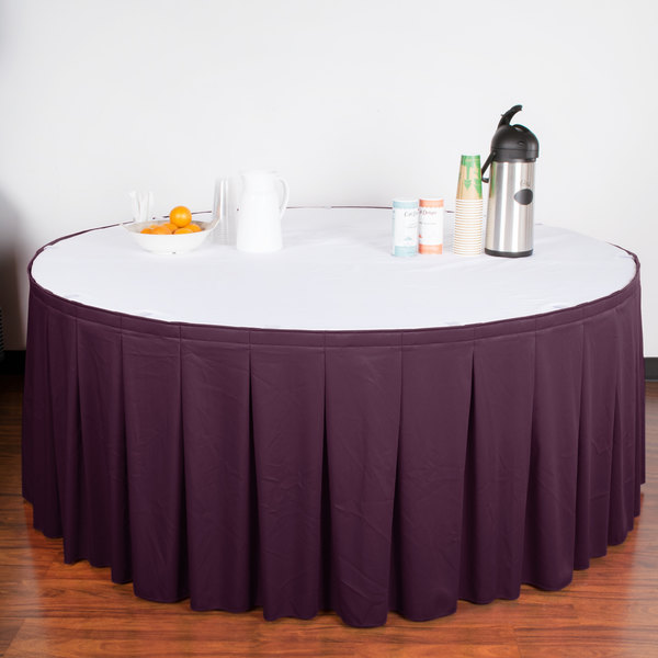 """Snap Drape WYN5V21629-PURP Wyndham 21' 6"""" x 29"""" Purple Continuous Pleat Table Skirt with Velcro® Clips"""