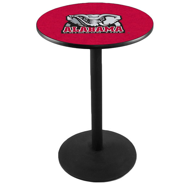 "Holland Bar Stool L214B36AL-ELE 28"" Round University of Alabama Pub Table with Round Base"