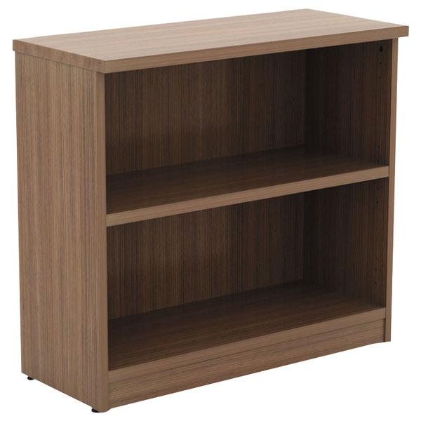 "Alera ALEVA633032WA Valencia Series 31 3/4"" x 14"" x 29 1/2"" Modern Walnut 2-Shelf Bookcase Main Image 1"
