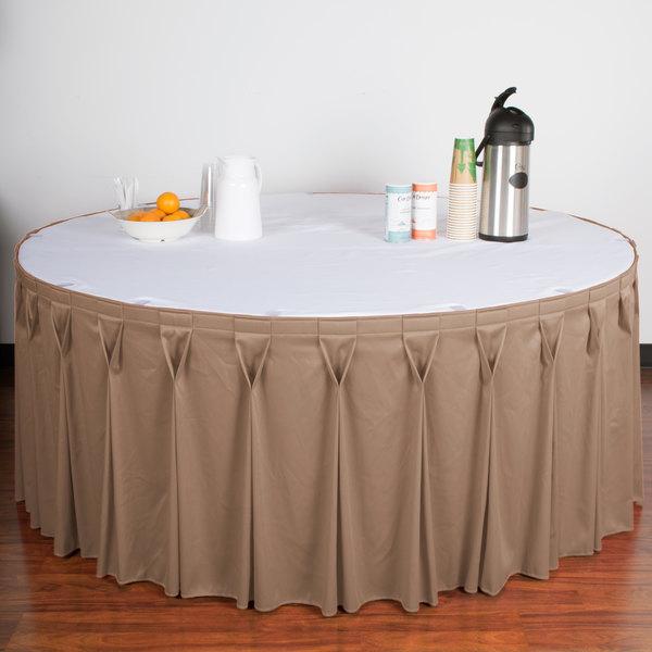"Snap Drape WYN6V21629-SBL Wyndham 21' 6"" x 29"" Sable Bow Tie Pleat Table Skirt with Velcro® Clips"