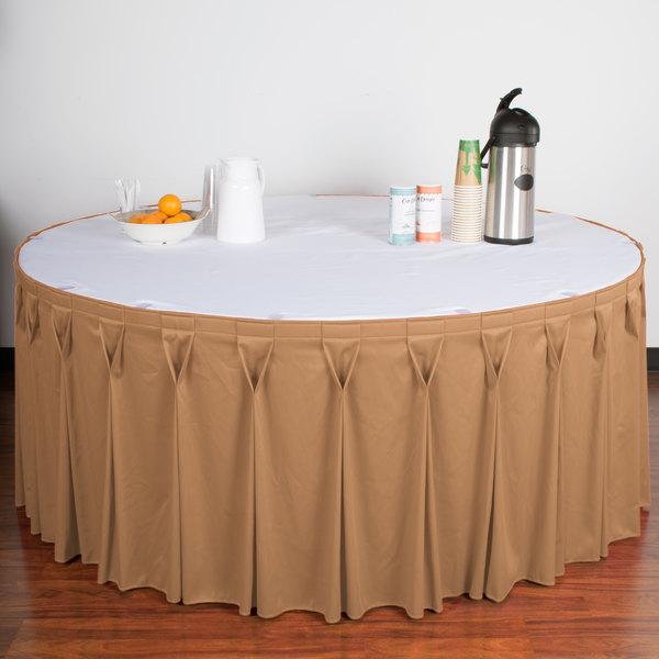 "Snap Drape WYN6V21629-SNDL Wyndham 21' 6"" x 29"" Sandalwood Bow Tie Pleat Table Skirt with Velcro® Clips"