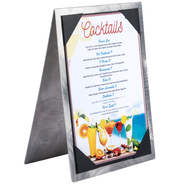 Menu Solutions MTDBL-58 Alumitique Two View Swirl Aluminum Menu Tent with Picture Corners - 5 1/2  ...  sc 1 st  WebstaurantStore & Solutions MTDBL-58 Alumitique Two View Swirl Aluminum Menu Tent ...