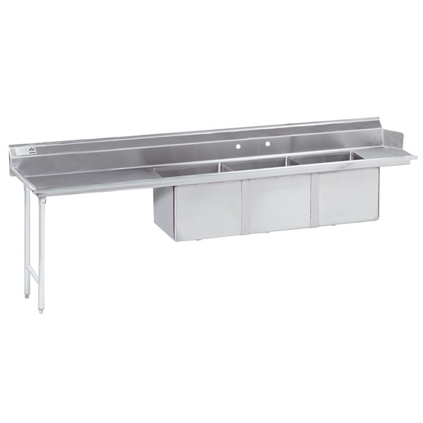 """Left Drainboard Advance Tabco DTC-3-1620-144 12' Stainless Steel Soil Straight Dishtable with 3 Compartment Sink - 16"""" x 20"""" Bowls"""