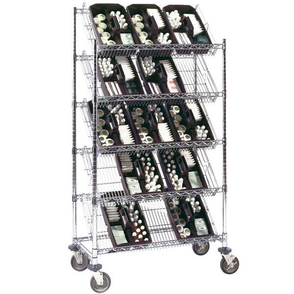 "Metro DC55EC 48"" x 18"" Four Slanted Shelf with One Flat Top Shelf Merchandiser / Dispenser Rack Main Image 1"