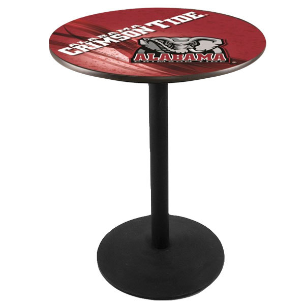 "Holland Bar Stool L214B3628AL-ELE-D2 28"" Round University of Alabama Pub Table with Round Base"