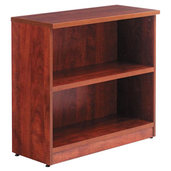 "Alera ALEVA633032MC Valencia Series 31 3/4"" x 14"" x 29 1/2"" Medium Cherry 2-Shelf Bookcase Main Image 1"