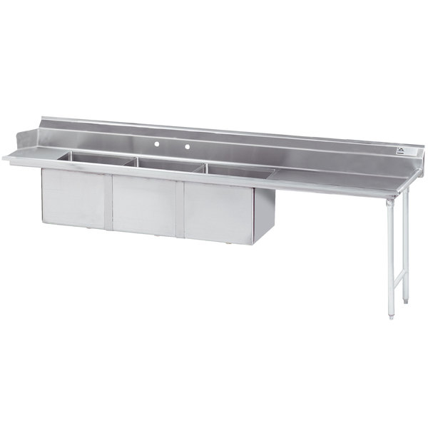 "Right Drainboard Advance Tabco DTC-3-2424-144 12' Stainless Steel Soil Straight Dishtable with 3 Compartment Sink - 24"" x 24"" Bowls"