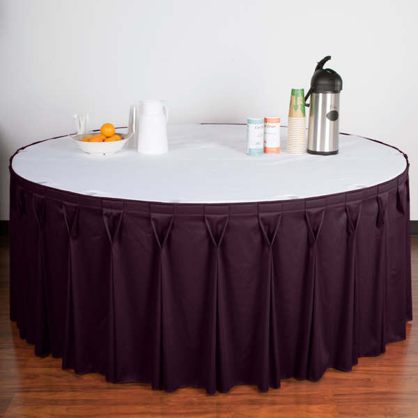 "Snap Drape WYN6V21629-PURP Wyndham 21' 6"" x 29"" Purple Bow Tie Pleat Table Skirt with Velcro® Clips"