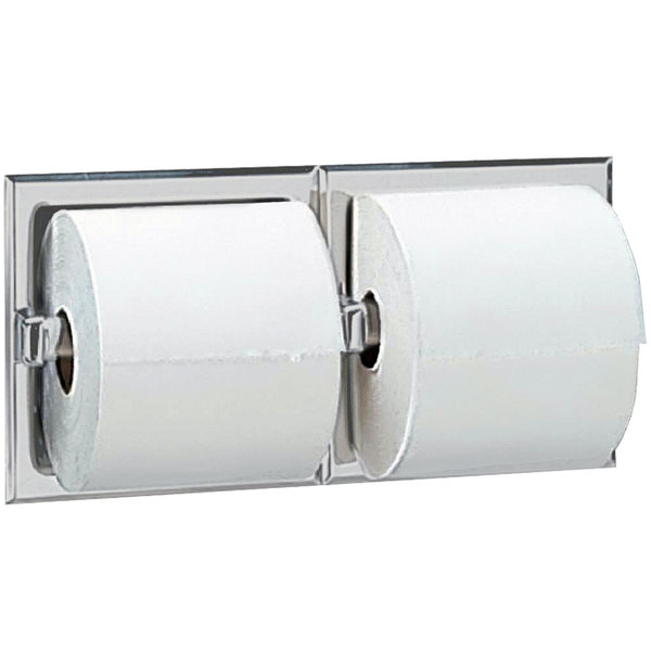 B6977 Recessed Double Toilet Tissue Dispenser with Satin Finish