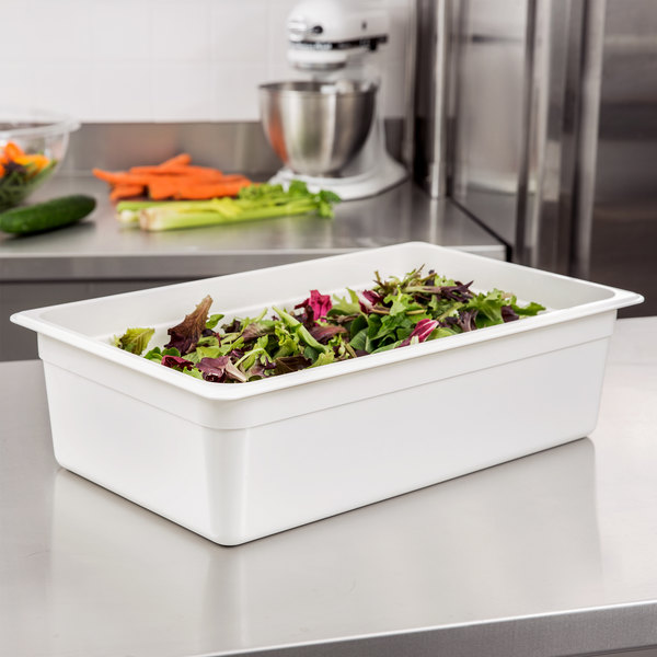 "Cambro 16CW148 Camwear Full Size White Food Pan - 6"" Deep"