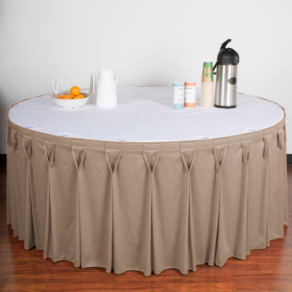 "Snap Drape WYN6V21629-BG Wyndham 21' 6"" x 29"" Beige Bow Tie Pleat Table Skirt with Velcro® Clips"