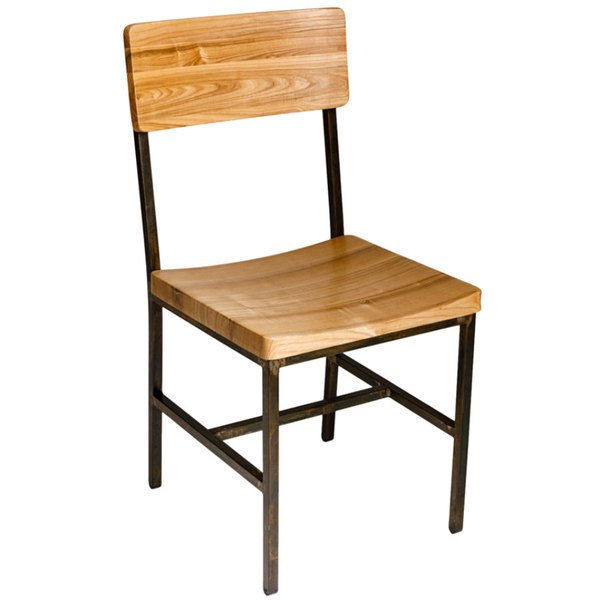 BFM Seating JS33CNTW-RU Memphis Distressed Rustic Clear Coated Steel Side Chair with Natural Ash Wooden Back and Seat Main Image 1
