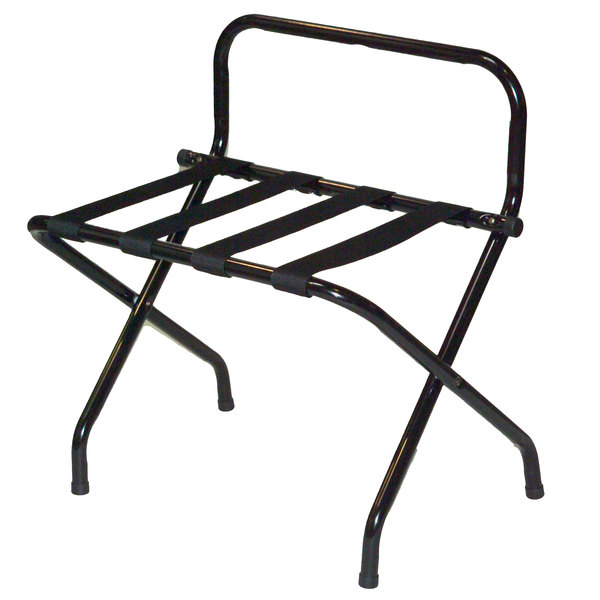 CSL 1055BL-BL-1 Black Metal High Back Luggage Rack with Wall Guard