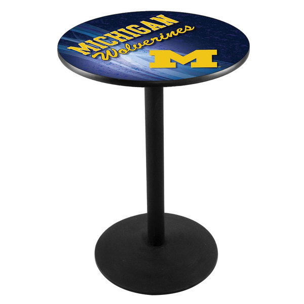 "Holland Bar Stool L214B3628MICHUN-D2 28"" Round University of Michigan Pub Table with Round Base"