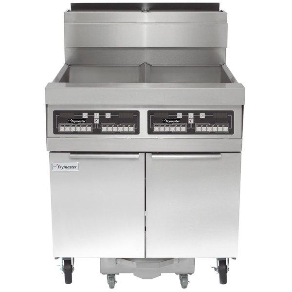 Frymaster SCFHD260G 160 lb. 2 Unit Natural Gas Floor Fryer System with CM3.5 Controls and Filtration System - 250,000 BTU Main Image 1