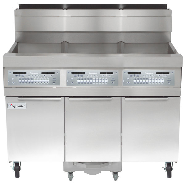 Frymaster SCFHD360G 240 lb. 3 Unit Liquid Propane Floor Fryer System with Thermatron Controls and Filtration System - 375,000 BTU Main Image 1