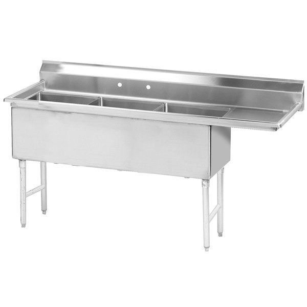 """Right Drainboard Advance Tabco FS-3-1524-24 Spec Line Fabricated Three Compartment Pot Sink with One Drainboard - 71 1/2"""""""