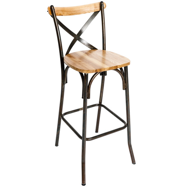 BFM Seating JS88BNTW-RU Henry Distressed Rustic Clear Coated Steel Bar Height Chair with Natural Ash Wooden Back and Seat