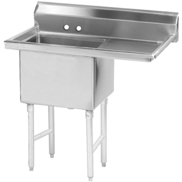 Right Drainboard Advance Tabco FS-1-1620-18 Spec Line Fabricated One Compartment Pot Sink with One Drainboard - 36 1/2""