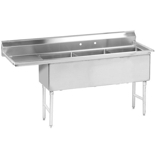 """Left Drainboard Advance Tabco FS-3-1620-18 Spec Line Fabricated Three Compartment Pot Sink with One Drainboard - 68 1/2"""""""