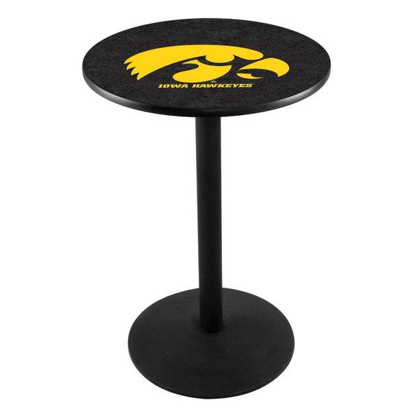 "Holland Bar Stool L214B3628IOWAUN 28"" Round University of Iowa Pub Table with Round Base"